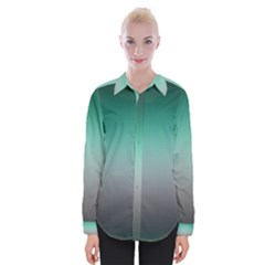Teal Green And Grey Gradient Ombre Color Womens Long Sleeve Shirt