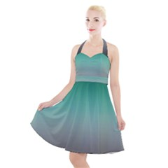 Teal Green And Grey Gradient Ombre Color Halter Party Swing Dress