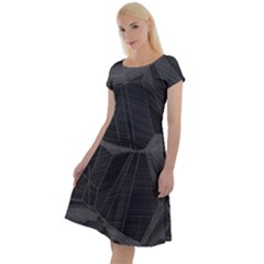 Black Tourmaline Stone Geometric Pattern Classic Short Sleeve Dress by SpinnyChairDesigns