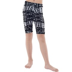 Abstract Black And White Stripes Checkered Pattern Kids  Mid Length Swim Shorts