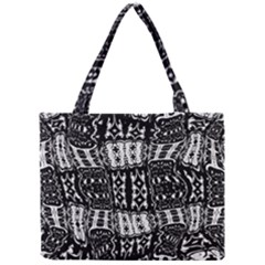 Abstract Black And White Stripes Checkered Pattern Mini Tote Bag by SpinnyChairDesigns