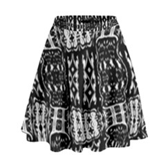 Abstract Black And White Stripes Checkered Pattern High Waist Skirt by SpinnyChairDesigns