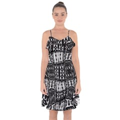 Abstract Black And White Stripes Checkered Pattern Ruffle Detail Chiffon Dress by SpinnyChairDesigns