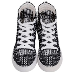 Abstract Black And White Stripes Checkered Pattern Women s Hi-top Skate Sneakers