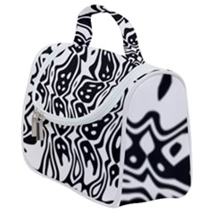 Black And White Abstract Stripe Pattern Satchel Handbag by SpinnyChairDesigns