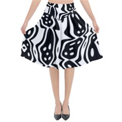 Black And White Abstract Stripe Pattern Flared Midi Skirt by SpinnyChairDesigns