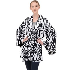 Black And White Abstract Stripe Pattern Long Sleeve Velvet Kimono  by SpinnyChairDesigns