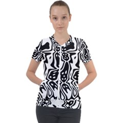 Black And White Abstract Stripe Pattern Short Sleeve Zip Up Jacket by SpinnyChairDesigns