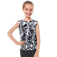 Black And White Abstract Stripe Pattern Kids  Mesh Tank Top by SpinnyChairDesigns
