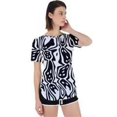 Black And White Abstract Stripe Pattern Perpetual Short Sleeve T-shirt