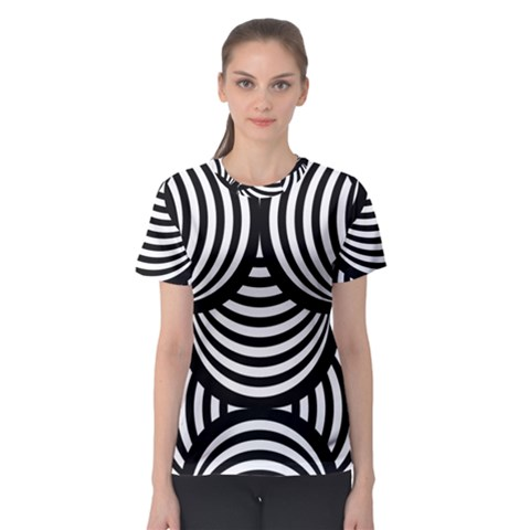 Abstract Black And White Shell Pattern Women s Sport Mesh Tee by SpinnyChairDesigns
