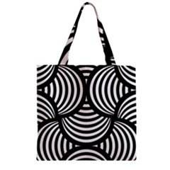 Abstract Black And White Shell Pattern Zipper Grocery Tote Bag by SpinnyChairDesigns