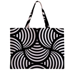 Abstract Black And White Shell Pattern Zipper Mini Tote Bag by SpinnyChairDesigns