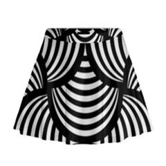 Abstract Black And White Shell Pattern Mini Flare Skirt by SpinnyChairDesigns