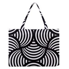 Abstract Black And White Shell Pattern Zipper Medium Tote Bag by SpinnyChairDesigns
