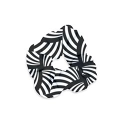 Abstract Black And White Shell Pattern Velvet Scrunchie by SpinnyChairDesigns