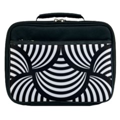 Abstract Black And White Shell Pattern Lunch Bag by SpinnyChairDesigns