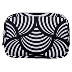 Abstract Black And White Shell Pattern Make Up Pouch (small) by SpinnyChairDesigns