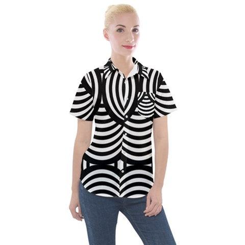 Abstract Black And White Shell Pattern Women s Short Sleeve Pocket Shirt by SpinnyChairDesigns