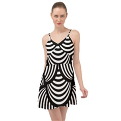 Abstract Black And White Shell Pattern Summer Time Chiffon Dress by SpinnyChairDesigns