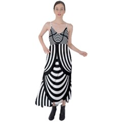 Abstract Black And White Shell Pattern Tie Back Maxi Dress by SpinnyChairDesigns
