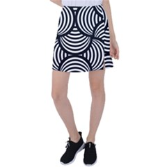 Abstract Black And White Shell Pattern Tennis Skirt by SpinnyChairDesigns