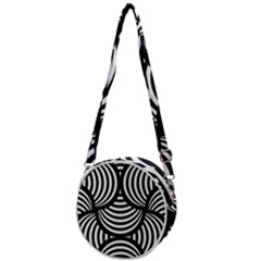 Abstract Black And White Shell Pattern Crossbody Circle Bag