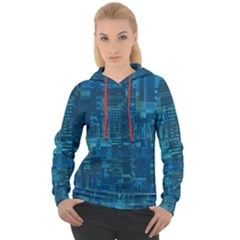 Blue Green Abstract Art Geometric Pattern Women s Overhead Hoodie