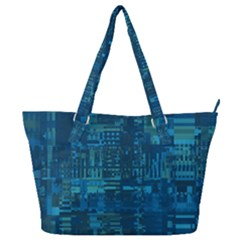 Blue Green Abstract Art Geometric Pattern Full Print Shoulder Bag by SpinnyChairDesigns