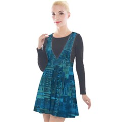 Blue Green Abstract Art Geometric Pattern Plunge Pinafore Velour Dress