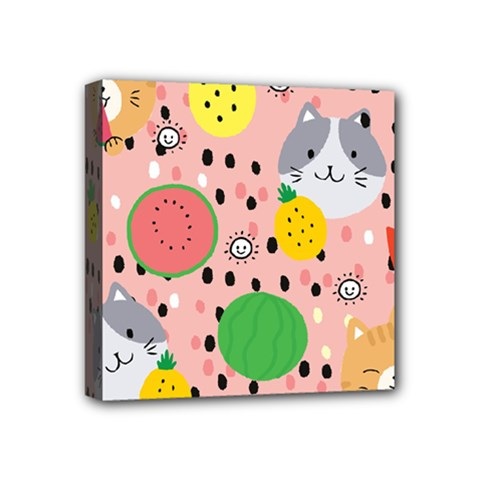 Cats And Fruits  Mini Canvas 4  X 4  (stretched) by Sobalvarro