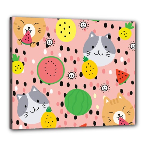 Cats And Fruits  Canvas 24  X 20  (stretched) by Sobalvarro