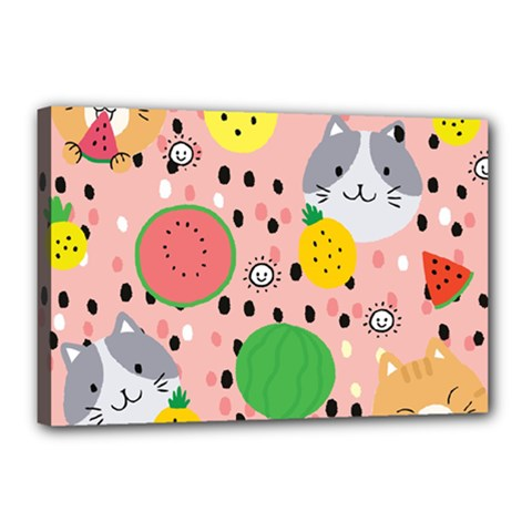 Cats And Fruits  Canvas 18  X 12  (stretched) by Sobalvarro