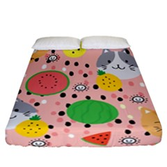 Cats And Fruits  Fitted Sheet (california King Size) by Sobalvarro