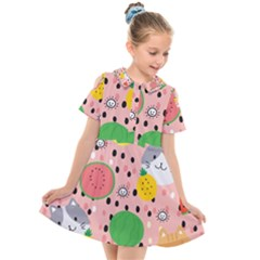 Cats And Fruits  Kids  Short Sleeve Shirt Dress by Sobalvarro