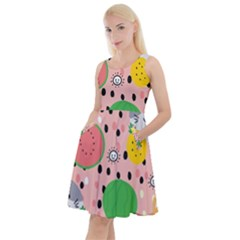 Cats And Fruits  Knee Length Skater Dress With Pockets