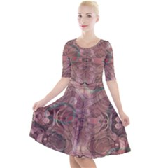 Tea Rose Pink And Brown Abstract Art Color Quarter Sleeve A-line Dress