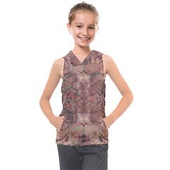 Tea Rose Pink And Brown Abstract Art Color Kids  Sleeveless Hoodie by SpinnyChairDesigns