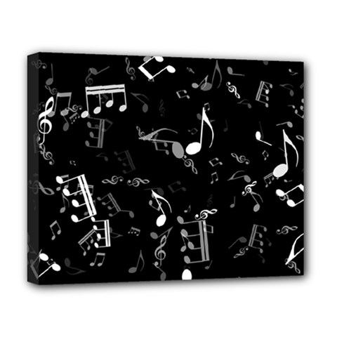 Black And White Music Notes Deluxe Canvas 20  X 16  (stretched) by SpinnyChairDesigns