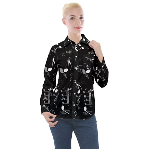 Black And White Music Notes Women s Long Sleeve Pocket Shirt by SpinnyChairDesigns