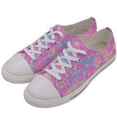 Pink Blue Peach Color Mosaic Women s Low Top Canvas Sneakers by SpinnyChairDesigns