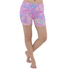 Pink Blue Peach Color Mosaic Lightweight Velour Yoga Shorts by SpinnyChairDesigns