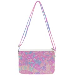 Pink Blue Peach Color Mosaic Double Gusset Crossbody Bag