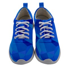 Electric Blue Geometric Pattern Athletic Shoes by SpinnyChairDesigns