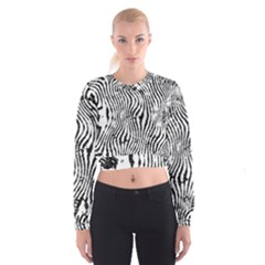 Zebra Print Stripes Cropped Sweatshirt by SpinnyChairDesigns