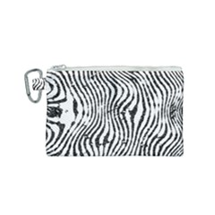 Zebra Print Stripes Canvas Cosmetic Bag (small) by SpinnyChairDesigns