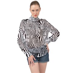 Zebra Print Stripes High Neck Long Sleeve Chiffon Top by SpinnyChairDesigns