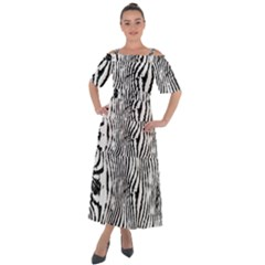 Zebra Print Stripes Shoulder Straps Boho Maxi Dress  by SpinnyChairDesigns