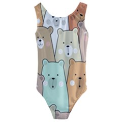 Colorful-baby-bear-cartoon-seamless-pattern Kids  Cut-out Back One Piece Swimsuit by Sobalvarro