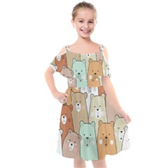 Colorful-baby-bear-cartoon-seamless-pattern Kids  Cut Out Shoulders Chiffon Dress